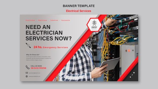 Horizontale bannergestaltung für elektrische dienstleistungen