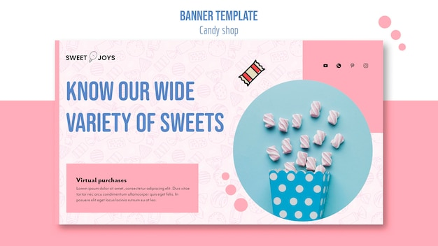 Horizontale bannerschablone des kreativen süßwarenladens