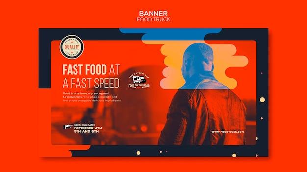 Horizontale bannerschablone für food-truck-geschäft