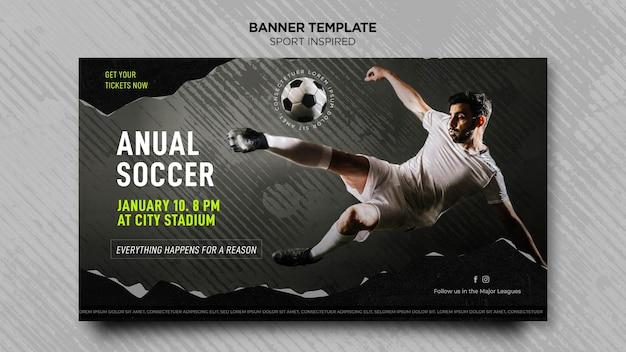 Horizontale bannerschablone für fußballverein