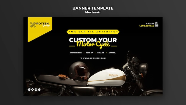 Horizontale bannerschablone für motorradreparaturwerkstatt