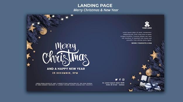 Horizontale bannerschablone für weihnachten und neujahr