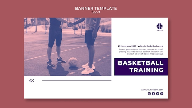 Horizontale bannerschablone zum basketballspielen