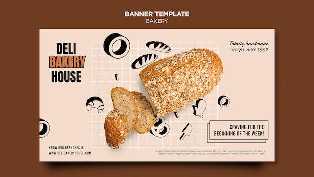 Horizontale bannervorlage der bäckerei
