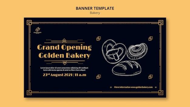 Horizontale bannervorlage für bäckerei mit handgezeichneter tafel