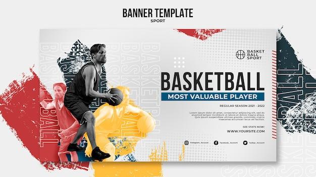 Horizontale bannervorlage für basketball mit männlichem spieler