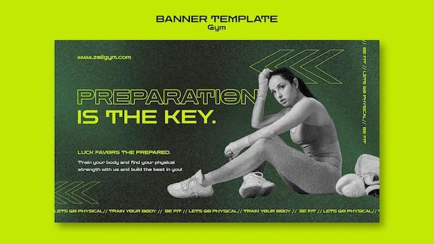 Horizontale bannervorlage für das fitnessstudiotraining