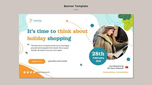 Horizontale bannervorlage für den feiertagsverkauf