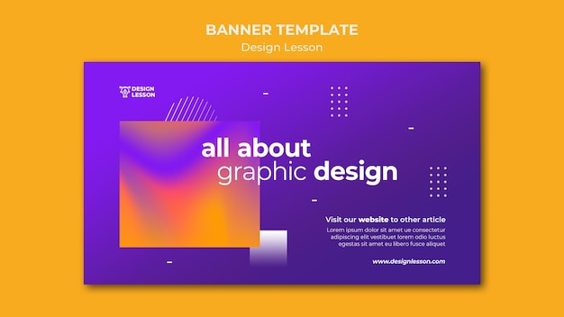 Horizontale bannervorlage für den grafikdesignunterricht