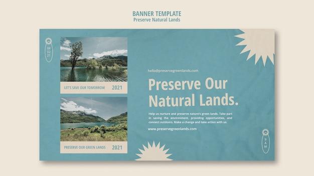 Horizontale bannervorlage für den naturschutz mit landschaft