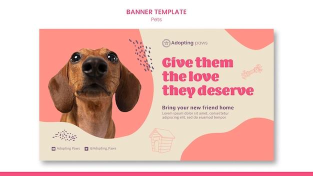 Horizontale bannervorlage für die adoption von haustieren mit hund