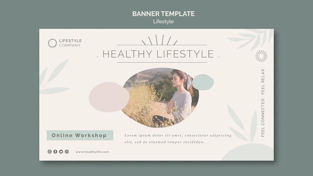 Horizontale bannervorlage für ein gesundes lifestyle-unternehmen
