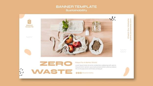 Horizontale bannervorlage für einen zero-waste-lifestyle