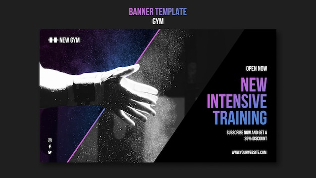 Horizontale bannervorlage für fitnessstudios