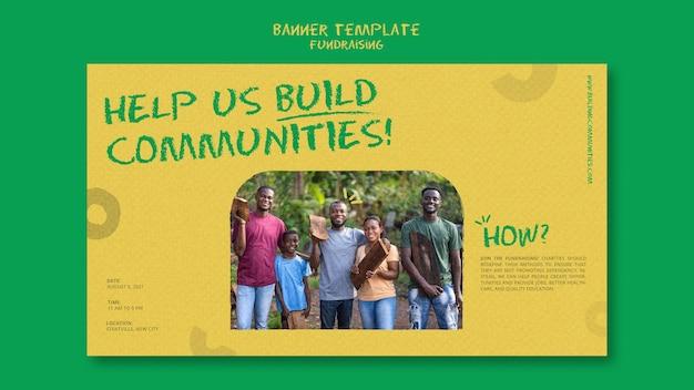 Horizontale bannervorlage für fundraising