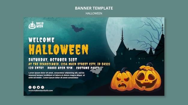 Horizontale bannervorlage für halloween-party