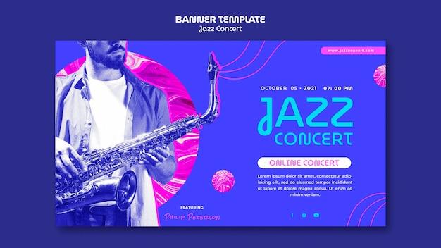 Horizontale bannervorlage für jazzkonzerte Kostenlosen PSD