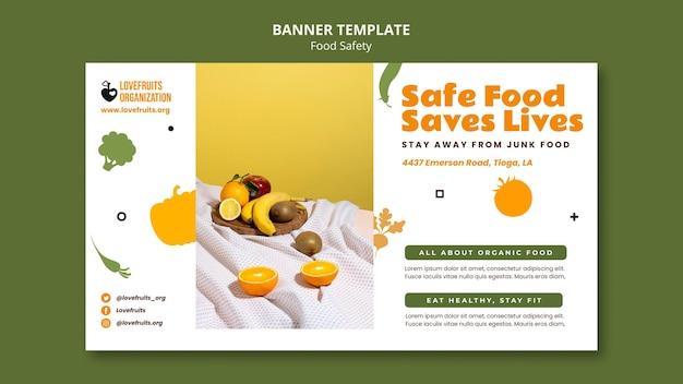 Horizontale bannervorlage für lebensmittelsicherheit