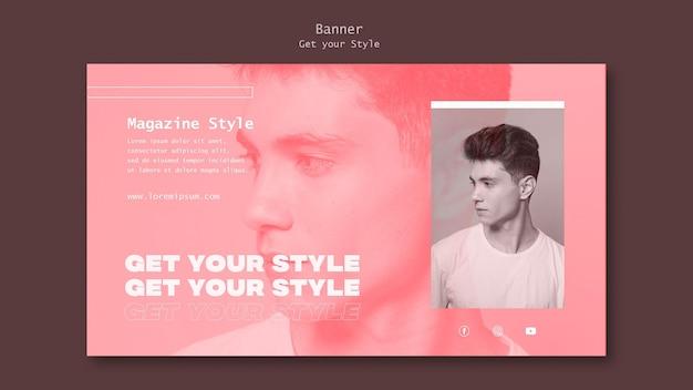 Horizontale bannervorlage für magazin im elektronischen stil