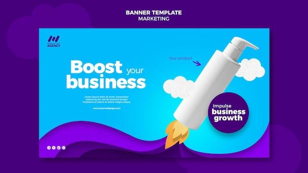 Horizontale bannervorlage für marketingfirma mit produkt