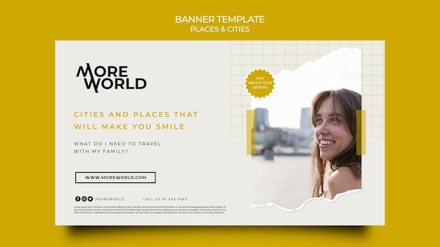 Horizontale bannervorlage für reisende städte und orte