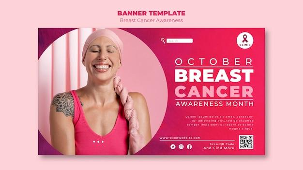Horizontale bannervorlage für rosa brustkrebs