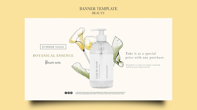 Horizontale bannervorlage für schönheitsprodukte mit handgezeichneten blumen