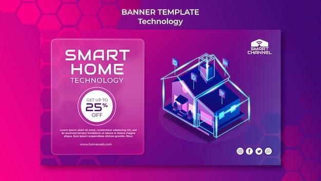 Horizontale bannervorlage für smart home