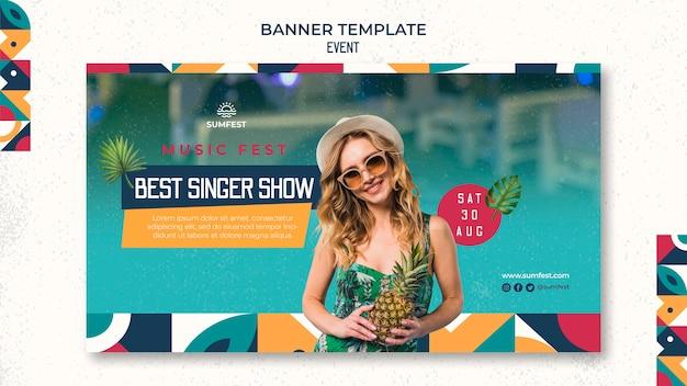 Horizontale bannervorlage für sommerparty