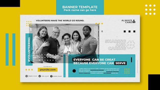 Horizontale bannervorlage für soziale aktivitäten und wohltätigkeitsorganisationen