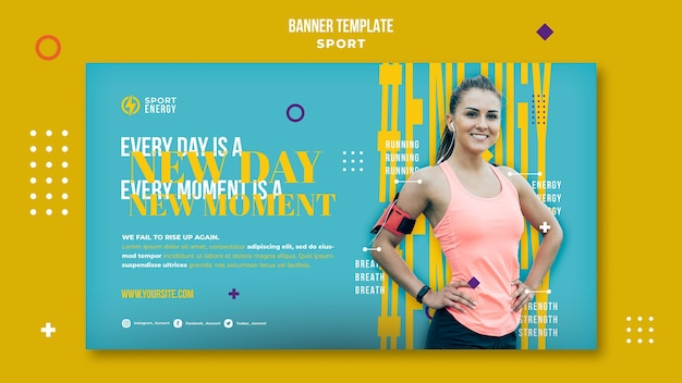 Horizontale bannervorlage für sport mit motivierenden zitaten