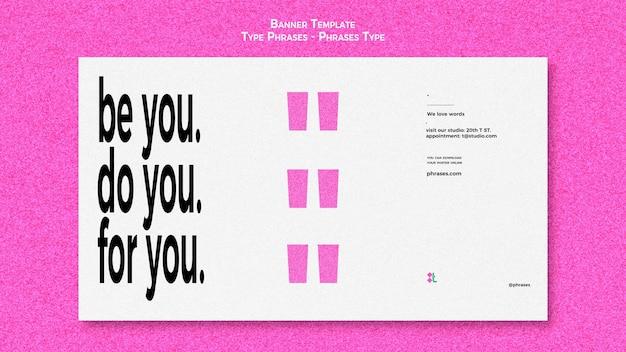 Horizontale bannervorlage für typphrasen