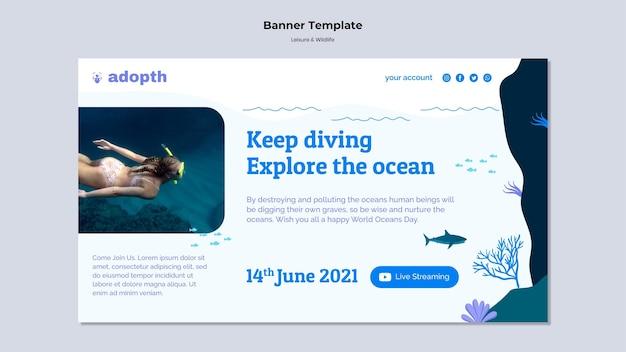 Horizontale bannervorlage für unterwassertauchen underwater