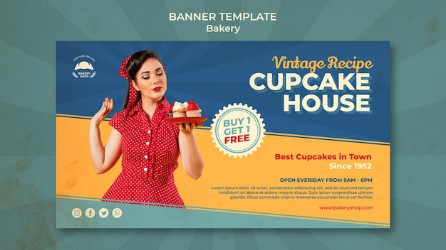 Horizontale bannervorlage für vintage bäckerei mit frau