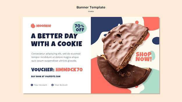 Horizontale bannervorlage mit cookies