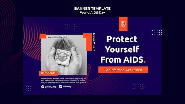Horizontale bannervorlage zum welt-aids-tag mit orangefarbenen details