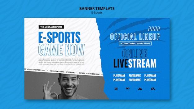 Horizontale e-sport-bannervorlage