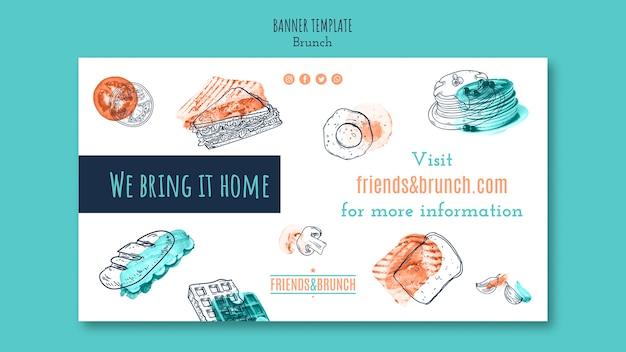Horizontale fahnenschablone für brunch-restaurant