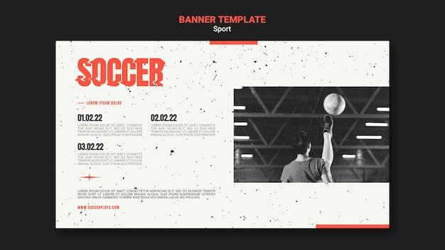 Horizontale fahnenschablone für fußball mit spielerin