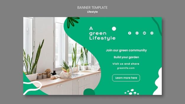 Horizontale fahnenschablone für grünen lebensstil mit pflanze