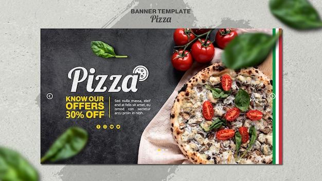 Horizontale fahnenschablone für italienisches pizzarestaurant