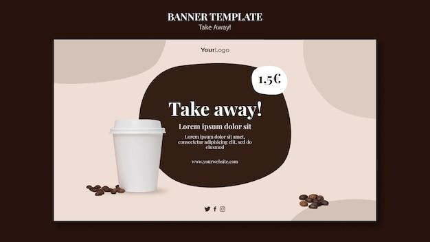 Horizontale fahnenschablone für kaffee zum mitnehmen