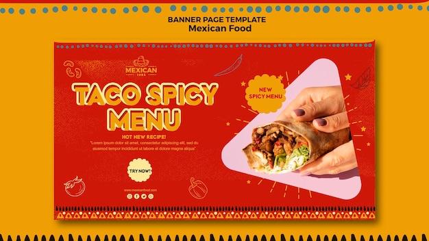 Horizontale fahnenschablone für mexikanisches lebensmittelrestaurant