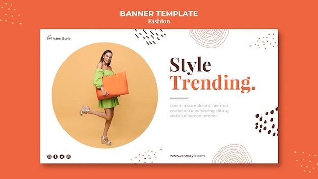 Horizontale fahnenschablone für modeeinkaufsgeschäft