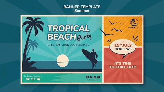 Horizontale fahnenschablone für tropische strandparty