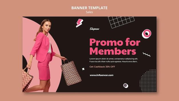 Horizontale fahnenschablone für verkäufe mit frau im rosa anzug