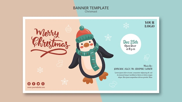 Horizontale fahnenschablone für weihnachten mit pinguin