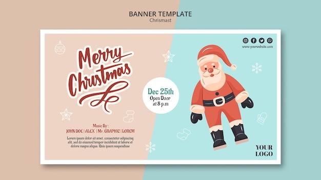 Horizontale fahnenschablone für weihnachten mit weihnachtsmann