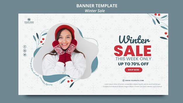 Horizontale fahnenschablone für winterverkauf