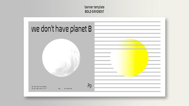 Horizontale fahnenschablone in fettem farbverlauf mit planet und wissenschaft